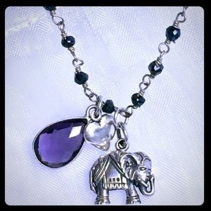 Lucky Elephant Amethyst Onyx Necklace